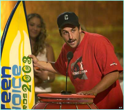 Hollywood funnyman Adam Sandler accepts the award for Choice Movie Hissy Fit