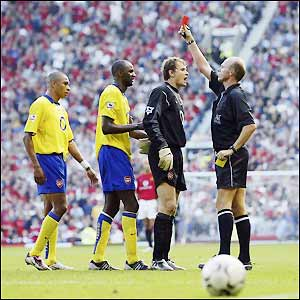 Vieira is sent off after 80 minutes