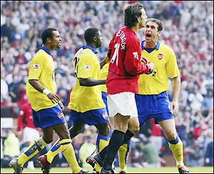 The Arsenal players are furious with Ruud van Nistelrooy