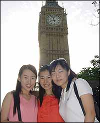 (l-r) Hye Jin You, 23, Hee Jin Jung, 25, and Hee Jin Lee, 24