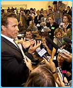 There is huge media interest in Arnie's political career