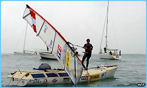 Raphaela Le Gouvello on her windsurf