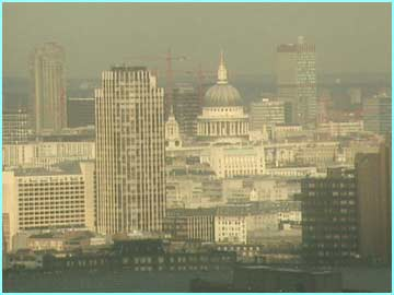 The London Skyline was badly affected by smog from the soaring temperatures