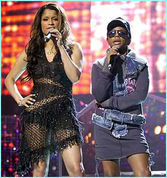 Awards night hosts Blu Cantrell and Lil' Kim rehearse hard to get things right