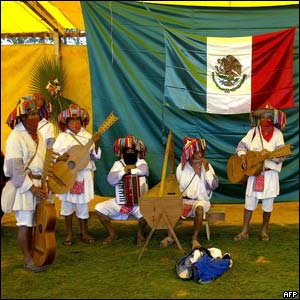 Native supporters of the Zapatista National Liberation Army (EZLN) play music at Oventic