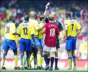 Francis Jeffers is shown the red card