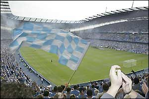 Fans at the City of Manchester Stadium