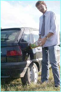 Daniel Blackburn driving the length of Britain to promote vegetable oil as an alternative to diesel.
