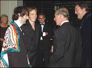 Prince Charles meets Michael Sheen (left), Stephen Campbell Moore and Stephen Fry
