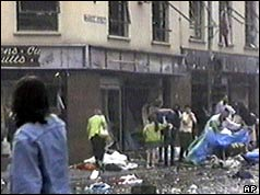 Damage to shops after the bomb
