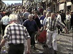 Casualties being rescued immediately after the blast