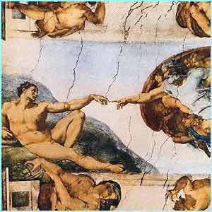 Michelangelo's Creation of Adam in the Sistine Chapel in Rome