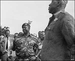 Unveiling a statue of himself in Ugandan capital Kampala