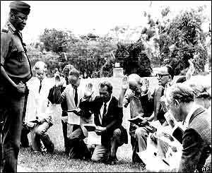 White Europeans, Ugandan citizens, pledged support to Amin in 1975