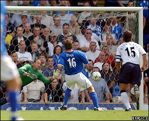 Birmingham's David Dunn puts his side ahead from the spot against Tottenham