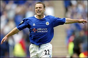 Paul Dickov celebrates scoring for Leicester