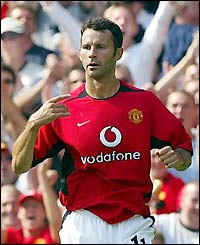 Ryan Giggs celebrates scoring at Man Utd