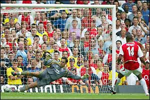 Arsenal's Thierry Henry scores from the penalty spot past Everton's Richard Wright