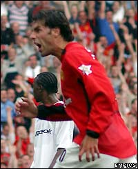 Ruud van Nistelrooy celebrates hitting Man Utd's fourth goal