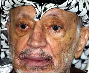 Yasser Arafat after the Haifa bombing on Saturday