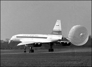 British-built Concorde comes lands at Fairford, Gloucestershire, after its inaugural flight.