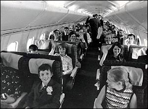 One of the first passenger flights, before commercial services began, in 1975.