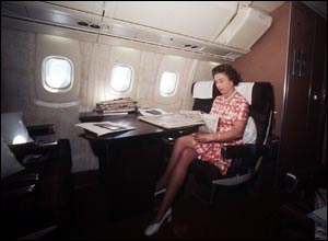 The Queen on board Concorde on her return from a Silver Jubilee tour of Canada and the West Indies.