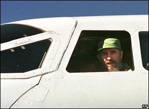 Castro on board Concorde at Havana, Cuba, in December 1997.