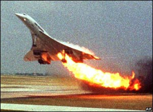 Air France Concorde on fire as it takes off from Paris Charles de Gaulle airport on 25 July 2000.