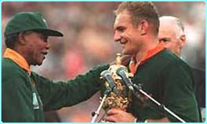 South African president Nelson Mandela presented the trophy