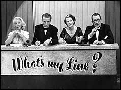 Panel of What's my Line? L-R Frances Day, Jerry Desmonde, Elizabeth Allan, Gilbert Harding