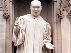 Statue of Martin Luther King at Westminster Abbey, London.