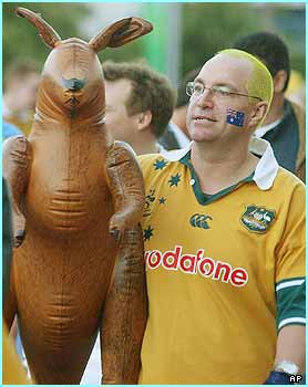 The Australian fans were excited about the game - do you think his inflatable mate's got a ticket?