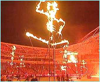 The ceremony was amazing, and loads of these fire spirits wandered around the stadium