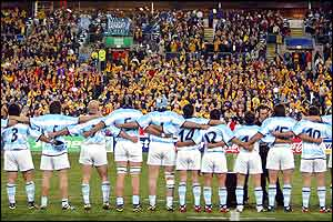 Argentina's players line up for the anthems before the game against Australia