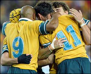 Roff is congratulated by his team-mates