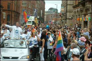 Crowds gather for Europride in Manchester