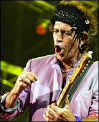 Rolling Stones guitarist Keith Richards at the first British concert of their world tour to promote 40 Licks, a 40th anniversary collection of their hits