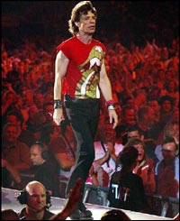 Rolling Stones lead singer Mick Jagger in front of 50,000 fans in the rugby ground of their home town, Twickenham, south-west London