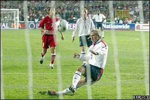 David Beckham misses a penalty for England