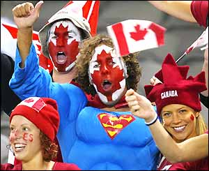Canadian fans in good spirits before the match against Wales