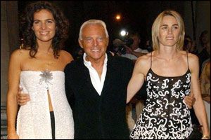 Giorgio Armani with his niece Roberta Armani (left) and Isabelle Harvey-Witt