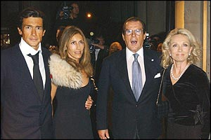 Geoffrey Moore and wife Loulou, Roger Moore and wife Kiki Tholstrup