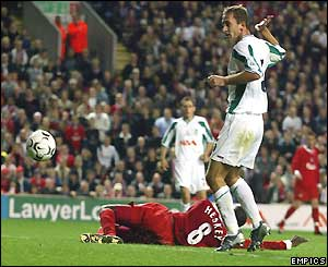 Emile Heskey scores for Liverpool