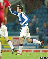 Blackburn's Matt Jansen scores in the second-half