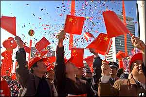 Chinese celebrate space mission