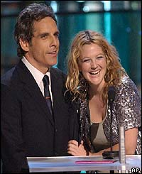 Hollywood actors Ben Stiller and Drew Barrymore