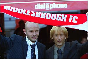 Danny Mills and Gaizka Mendieta both join Middlesbrough on year-long loans
