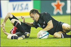 Caleb Ralph score a try for New Zealand