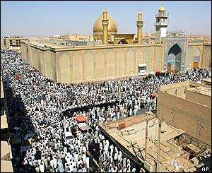 Thousands of mourners on streets of Najaf